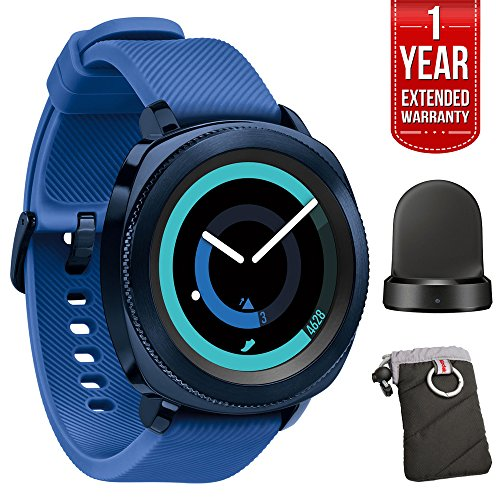 Samsung Gear Sport Fitness Watch - Blue (SM-R600NZBAXAR) + 1 Year Extended Warranty + QI Wireless Charging Base Dock Cradle Charger + Kodak Gear Black Jacket Case w/ Carabiner by Beach Camera