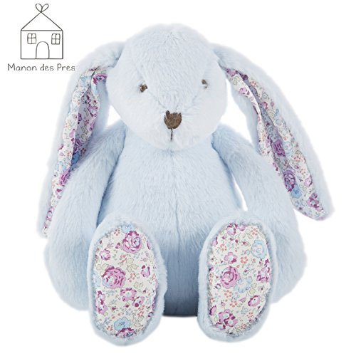 Clearance Sale Manon des Pres 11.5'' Blue Bunny Stuffed Animal Plush Toys Light Pink Soft and Cute Stuffed Rabbit Toy Perfect Birthday Present for Baby Kids Children Toddlers (Rabbit Plush Bunny Blue)
