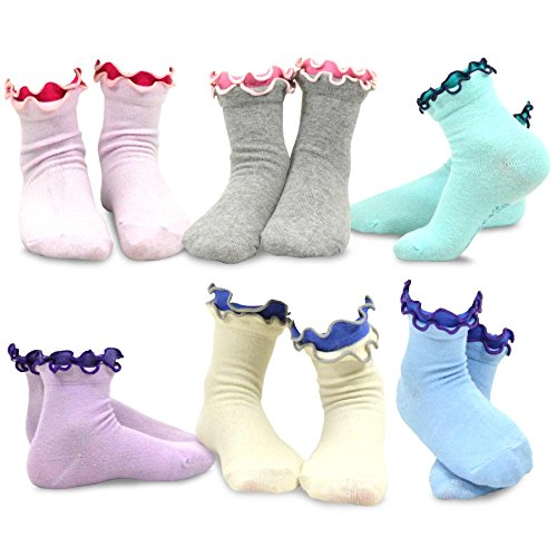 TeeHee Kids Girls Cotton Double Ruffle Crew Socks 6 for sale  Delivered anywhere in USA