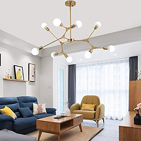 Chandelier Lighting Brushed Brass Modern Pendant Lights Vintage Semi Flush Mount Ceiling Light For Dining Room Bed Kitchen 8 E26