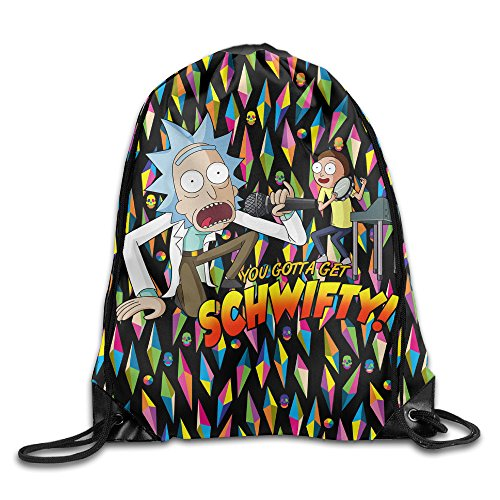 TXHLEL Rick And Morty You Gotta Get Schwifty Logo Print Drawstring Backpack For Sale