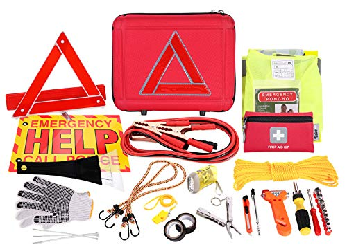 Thrive Roadside Assistance Auto Emergency Kit + First Aid Kit - Case - Contains Jumper Cables, Tools, Reflective Safety Triangle and More. Ideal Winter Accessory for Your car, Truck, Camper