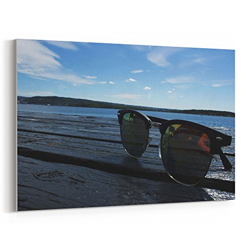 Westlake Art Sea Sunglasses - 12x18 Canvas Print Wall Art - Canvas Stretched Gallery Wrap Modern Picture Photography Artwork - Ready to Hang 12x18 Inch (2483-2CE52)