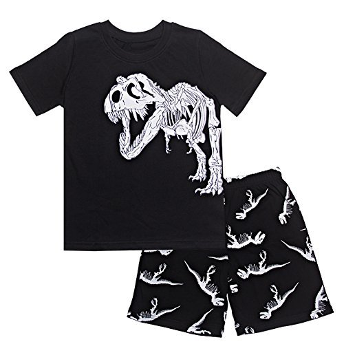 Kids Pajamas Toddler Dinosaur Pjs Boys Cartoon Sleepwear 100% Cotton Black 2T