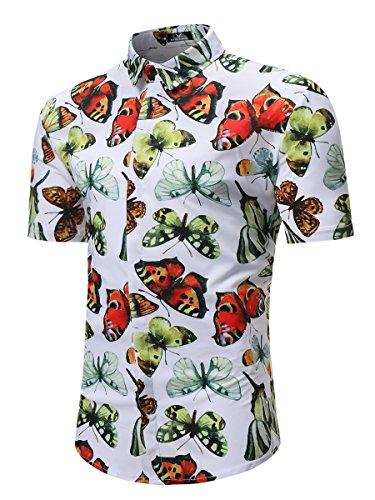 MYMSTORM Men's Flower Hawaiian Casual Button Down Short Sleeve Shirt (Small, White Butterfly)