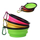 JOUDOO Outdoor Travel Collapsible Food Grade Silicone Dog Cat Food Water Feeding Pet Bowl with Free Carabiner Yellow Green Pink CW001 (set of 3)