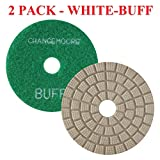 CHANGE MOORE Wet Diamond Polishing Pads 4'' for Marble Granite Travertine Terrazzo Concrete Stones Quartz Countertop Floor, 2 pack-White Buff
