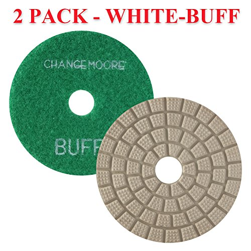 CHANGE MOORE Wet Diamond Polishing Pads 4'' for Marble Granite Travertine Terrazzo Concrete Stones Quartz Countertop Floor, 2 pack-White Buff by CHANGE MOORE