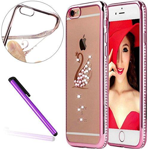 "6S Case,iPhone 6 Case,EMAXELER Bling Swarovski Crystal Rhinestone Diamond Frame Cover for iPhone 6S,Plating Frame Flexible TPU Case for iPhone 6/6S(4.7"")Swan[Rose & Diamond]"