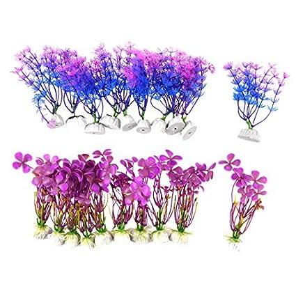 eDealMax Plantas acuario de plástico Adorno de simulación de la hierba acuática 11cm Alto