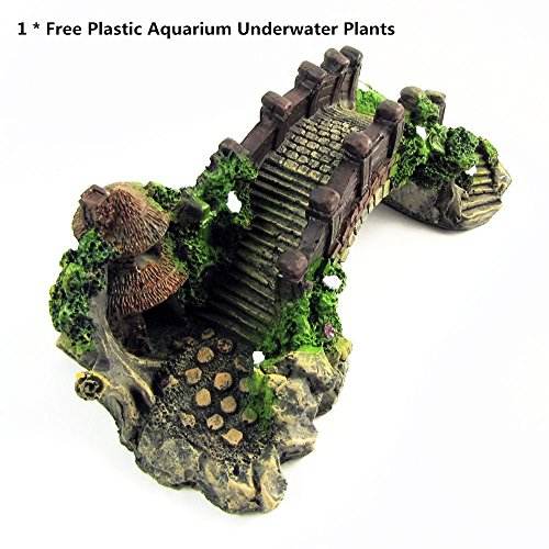 Pavilion Tree Fish Tank Decoration Aquarium Ornament Poly Resin Bridge, 7 x 3.3 x 2.5 Inches Wonderful For The Underwater Environment, Aquariums, Fish Tank, Gardens (Wood Color)