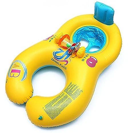 SAIAOBO Flotador de Dos plazas para bebé y Madre o Padre,Flotador inchable con Respaldo