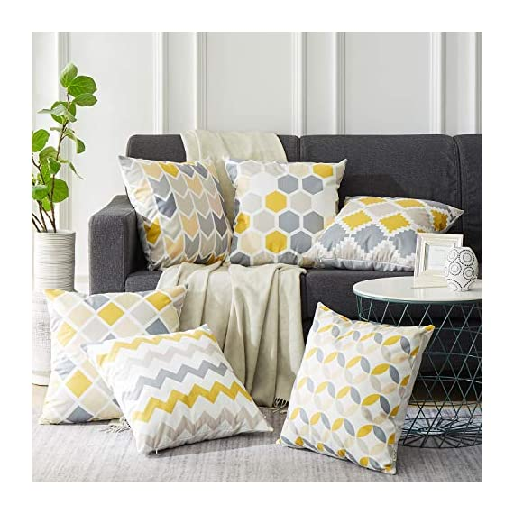 Top Finel Square Decorative Throw Pillow Covers Soft Microfiber Outdoor Cushion Covers 18 x 18 for Couch Sofa Bedroom, Set of 6, Grey & Yellow - SUPER PLUSH MATERIAL & SIZE: Made of ultra soft microfiber, comfortable to touch and lay on. 18 X 18 Inch per pack, included 6 packs per set, NO PILLOW INSERTS. WORKMANSHIP: Delicate hidden zipper closure was designed to meet an elegant look. Tight zigzag over-lock stitches to avoid fraying and ripping. NO PECULIAR SMELL: Because of using environmental and high quality ultra soft fabric,our throw pillow cases are the perfect choice for those suffering from asthma, allergen, and other respiratory issues. - patio, outdoor-throw-pillows, outdoor-decor - 51Bg5 Mku8L. SS570  -