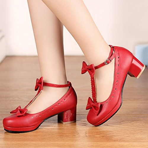 Bows Shoes Janes Vintage Mary T getmorebeauty Womens Straps Shoes Lolita Sweet Red Eqn06U
