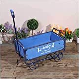 YONGYONG Float Flower Stand American Retro Wind Wooden cart Home Garden Storage handling Tool Decorative Ornaments 52.53629.5cm (Color : Blue, Size : 52.53629.5cm)