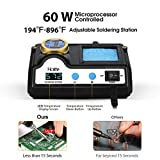 HoLife Digital Display 60W Soldering Iron Station with 5 Extra Soldering Tips, Sleep Function, Constant Temperature Control, C/F Switch, Solder Roll Holder, Brass Tip Cleaner, Sponge