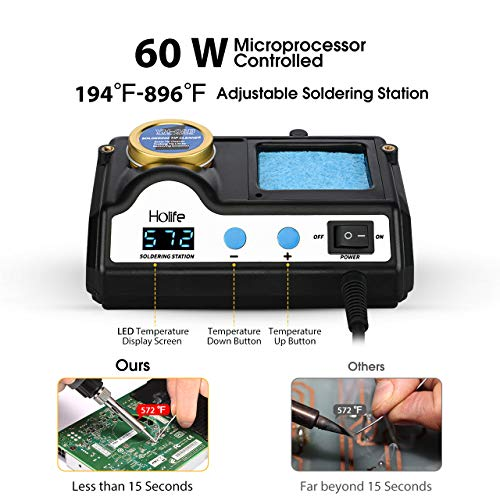 HoLife Digital Display 60W Soldering Iron Station with 5 Extra Soldering Tips, Sleep Function, Constant Temperature Control, C/F Switch, Solder Roll Holder, Brass Tip Cleaner, Sponge by HOLIFE (Image #1)