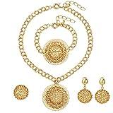 Moochi Africa Golden Big 3D Ball Hollow Pendant Fashion Costume Necklace Jewelry Set