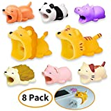 Cable Buddies, Cute Animal Cable Bites Charging Cords Data Line Protectors 8 Pack - 6 Phone Cord Bites + 2 Big Mouth for USB Power Adapter