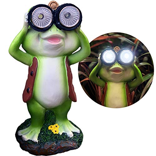 New Solar Frog Lawn Ornament - Limited Edition 'Freddy The Explorer' - 8 inches Tall - Solar Garden Statue ()