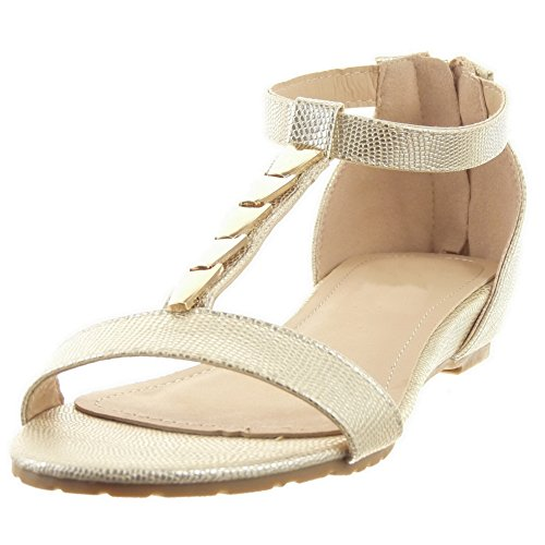 Sopily - damen Mode Schuhe Sandalen T-Spange Schlangenhaut metallisch Schleife - Gold