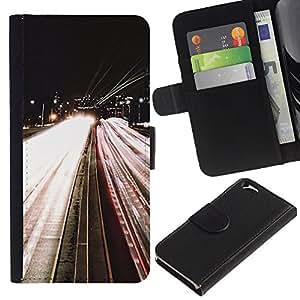 Carretera Luces Noche En coche El exceso de velocidad- la tarjeta de Crédito Slots PU Funda de cuero Monedero caso cubierta de piel Para Apple (4.7 inches!!!) iPhone 6 / 6S