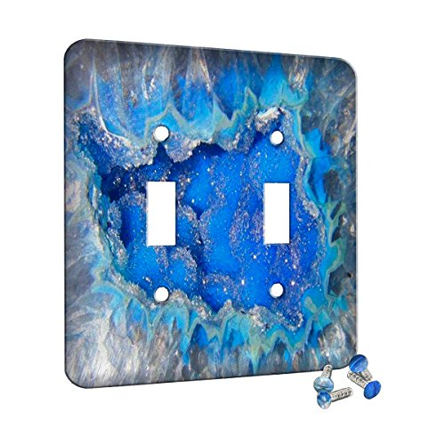 Geode Crystal Azure - Decor Wall Plate Cover Metal (2 Gang Switch)