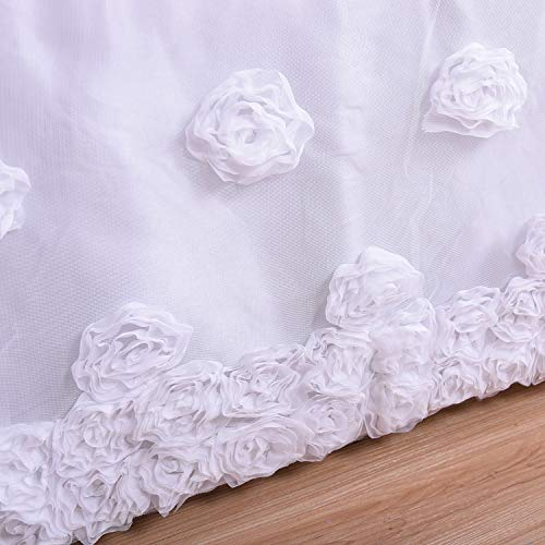 Flat Tulle Crib Skirt with Embroideried Rose for Baby Girls Standard Crib Bed 52 by 28 by 15 Inches (Crib Dust Ruffle Pattern)