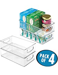 MDesign Kitchen Cabinet And Pantry Storage Organizer Bins Pack Of 4 Shallow Clear