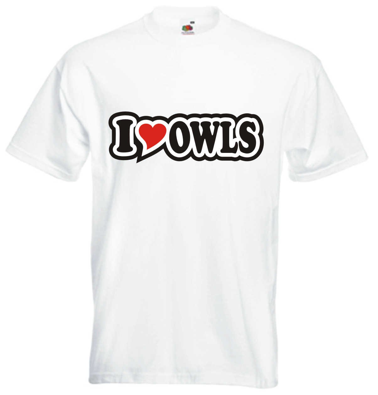 I Love Heart T-Shirt Men I LOVE OWLS Black Dragon