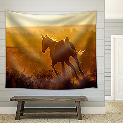 Made With Top Quality, Handsome Artistry, Arabian Horse on Sunset Fabric Wall