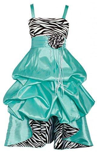Wonder Girl Sasha Big Girls' Taffeta Zebra High Low Dress 12 Aqua (Aqua Zebra)