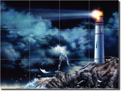 ''Through the Darkness'' by Bruce Eagle - Artwork On Tile Ceramic Mural 18'' x 24'' Kitchen Shower Backsplash