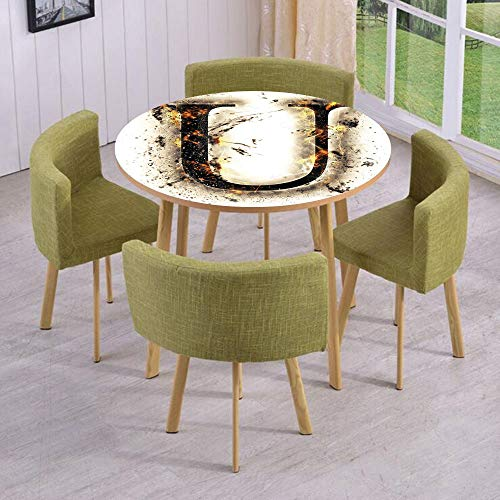 Round Table/Wall/Floor Decal Strikers/Removable/Baroque Medieval U in Blazing Tones Fever in Alphabet Calligraphy Artwork/for Living Room/Kitchens/Office Decoration