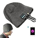 Wireless Rechargeable Bluetooth Smart Cap Headset Headphone Soft Warm Beanie Hat Speaker For Iphone Samsung Htc LG Smartphone(bluetooh hat Grey)