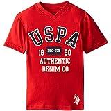 U.S. Polo Assn. Little Boys' Graphic Embellished V-Neck T-Shirt, Engine Red H5HF75RDV, 5/6