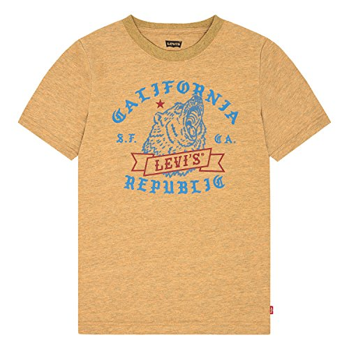 Levi's Boys' Big Graphic T-Shirt, Golden Glow/Bear Logo, M