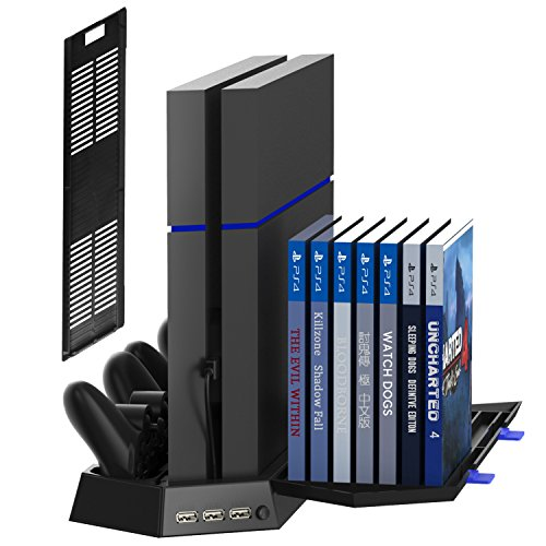 Fan Game (Kootek Vertical Stand for PS4 Slim / Regular PlayStation 4 Cooling Fan Controller Charging Station with Game Storage and Dualshock Charger ( Not for PS4 Pro ))