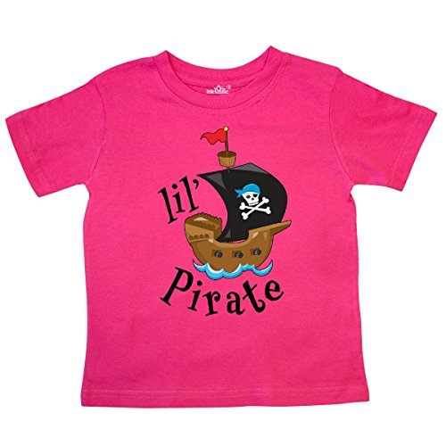 inktastic - Lil' Pirate Pirate Ship, Blue Toddler T-Shirt 4T Hot Pink 2a4d7 ()