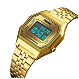 Men's Digital Sports Watch Outdoor Stainless Steel Band Electronic Waterproof Square LED Men's Wristwatch