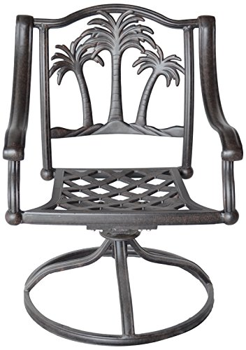 K&B PATIO LD9021-11 Palm Tree Swivel Rocker Dining Chair, Antique Bronze