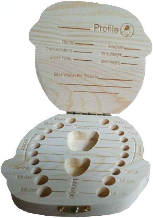 rongweiwang Los Dientes de Leche Caja Organizador Guardar Dientes de Leche Caja de Almacenamiento de Madera Grandes Regalos 3-6 a/ños sin Caja al por Menor