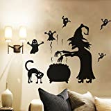 Halloween Festival Room Decoration Wall Decals Witch and Littlw Devil Removable Vinyl Stickers for Home Shop Party Festival Decoration 22.4 x 27.6 Inch