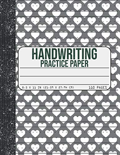 Handwriting Practice Paper: Dotted Mid-lines 110 Pages Uppercase and Lowercase Writing Sheets Notebook Valentine's Day gifts For Kids (Kindergarten To 3rd Grade Students)