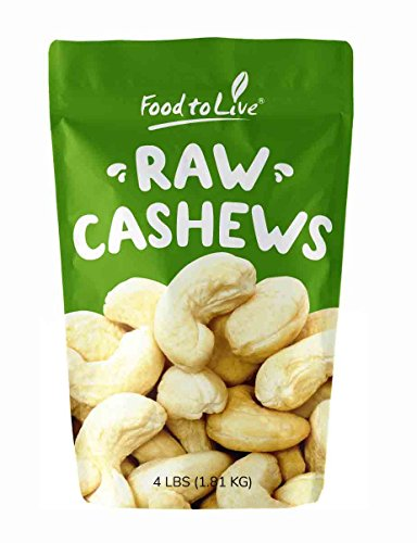 (Raw Cashew Nuts by Food to Live, Whole, Unsalted, Bulk — 4 Pounds)