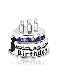 JMQJewelry Happy Birthday Birthstone Cake Candles Jan-Dec Crystal Charms Bead Bracelets