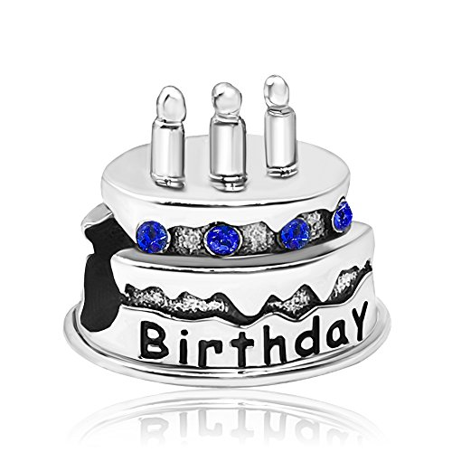 JMQJewelry Happy Cake Birthday September Birthstone Candles Crystal Rhinestone Charms For Bracelets (Rhinestone Pandora)
