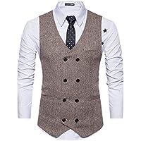 Cottory Men's Vintage Slim Fit Double-breasted Solid Suit Vest