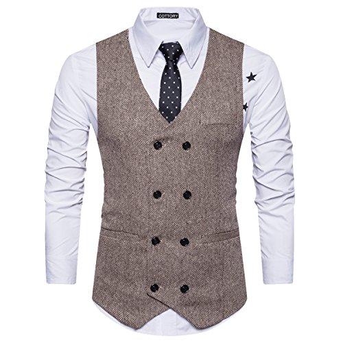Cottory Men's Vintage Slim Fit Double-breasted Solid Suit Vest Brown (Mens Vest)