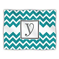 Kess InHouse KESS Original 'Monogram Chevron Teal Letter Y' Dog Blanket, 40 by 30-Inch